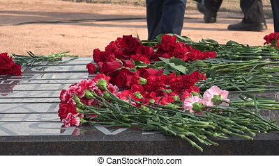 Red flowers at the monument 4K - Red flowers at the monument...