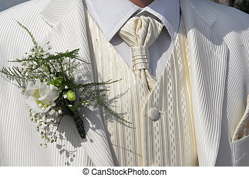 wedding suit - white elegant wedding suit with posy