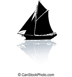 Yacht - Silhouette of a stylized yacht