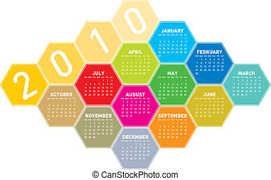 Calendar 2010 - Calendar for year 2010 in an hexagonal...