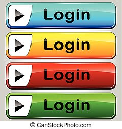 login colorful buttons - illustration of colorful web...