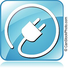 electric plug icon - Illustration of blue square design icon...