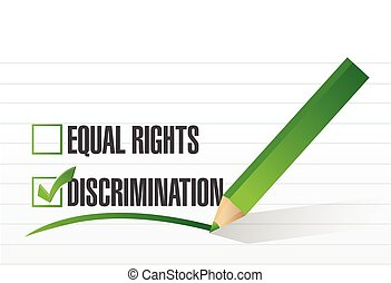 discrimination selection illustration design over a white...