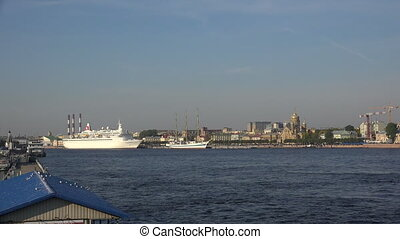 White ship near the temple in St. Petersburg. - White ship...