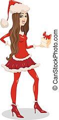 girl santa claus cartoon illustration
