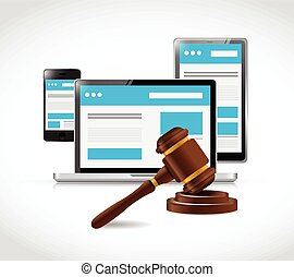 internet copyright protection law illustration design over a...