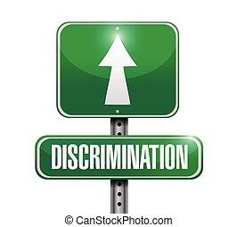 discrimination street sign illustration design over a white...
