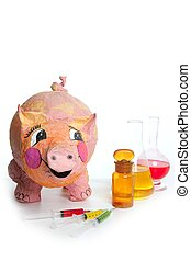 Beautiful little pink pig with medicine AH1N1 - Beautiful...
