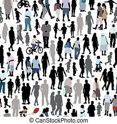 People pattern - Crowd of people, pattern with men, women...