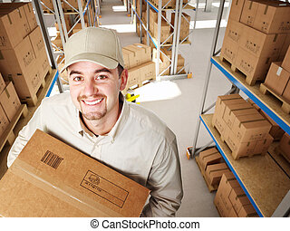 man in warehouse - worker in a classic warehouse