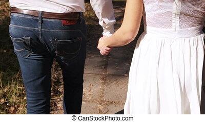 Couple on walk backside