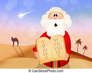 Moses with Ten Commandments - illustration of ten...