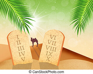 tables of the Ten Commandments - illustration of ten...