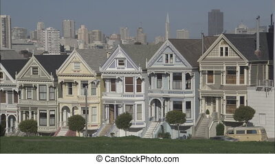 SF Townhouses - San Francisco Townhouses with skyline in...