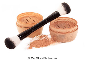 Face powder and brush isolated