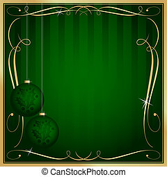 Ornate Green Christmas Card or Tag with Copy Room