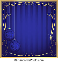 Ornate Blue Christmas Card or Tag with Copy Room