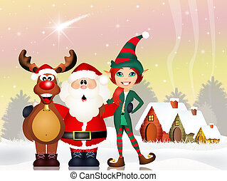 Santa Claus, reindeer and elf - illustration of Santa Claus,...