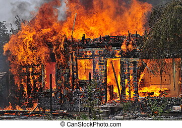 House fire - This is a picture of a house burning