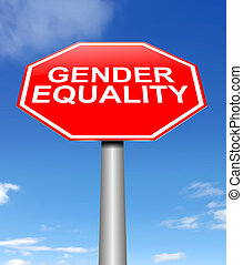 Gender equality concept - Illustration depicting a sign with...