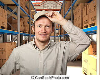 man in warehouse