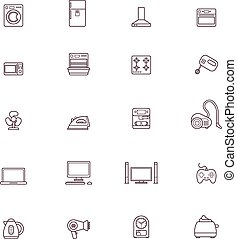 Domestic appliances icon set