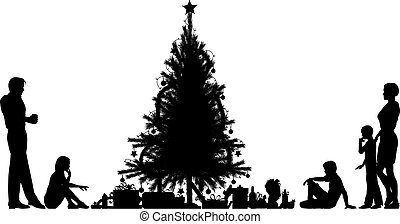 Christmas eve - Editable vector silhouette of a family...