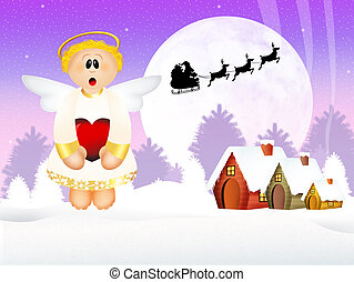 Funny angel at Christmas - illustration of funny angel at...