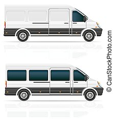 mini bus for the carriage of cargo and passengers vector illustr