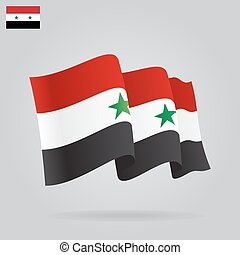 Flat and waving Syrian Flag Vector illustration