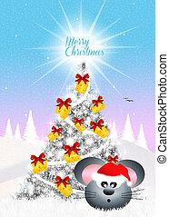 Christmas postcard - illustration of Christmas postcard
