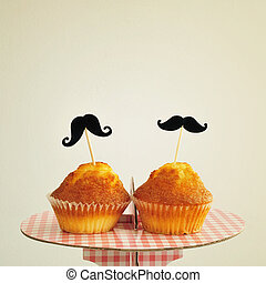 moustaches in cupcakes, with a retro effect - two different...