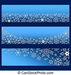 Set of blue banners with 3d white ornate snowflakes