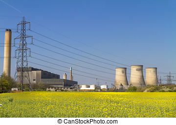 Coal fired power station viewed across a field of yellow...