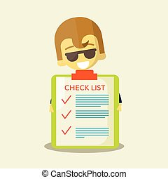Happy businessman with checklist All items are made Success...