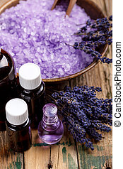 Lavender aromatherapy concept on wooden background
