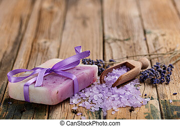 Herbal soap with sea salt and lavender flowers