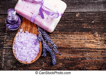 Lavender soap and salt with lavender flower