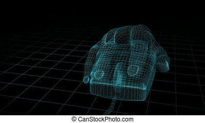 Hand Wireframe CG hd - Wireframe Mouse moving animation