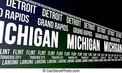 Michigan State and Major Cities - Animated scrolling banner...