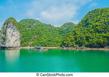 Floating house and rock island in Halong Bay