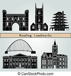 Reading Landmarks - Reading landmarks and monuments isolated...