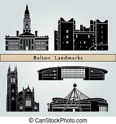 Bolton landmarks and monuments isolated on blue background...