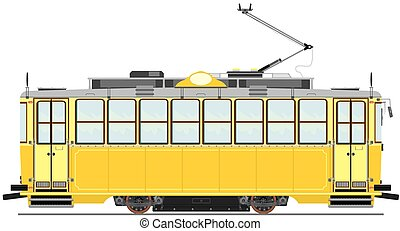 Tram - Vintage tram. Vector without gradients on one layer.