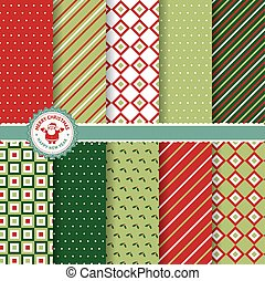 Christmas and New Year patterns - Set of Christmas and New...