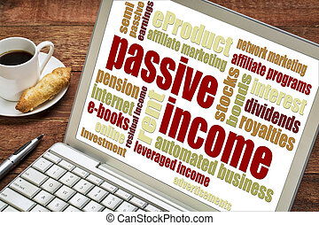 passive income concept - passive income word cloud on a...
