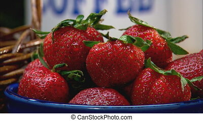 Strawberries CU - CU of a bowl full of strawberries