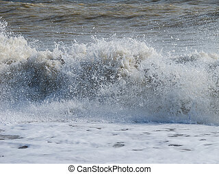 Waves Crashing onshore - North Sea waves crashing onshore at...