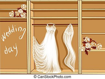 wedding day. wedding dress in glothes closet
