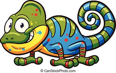 Cartoon chameleon. Vector clip art illustration with simple...